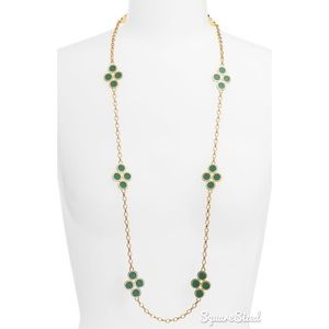 Tory Burch Gold and Green Cole Clover Necklace